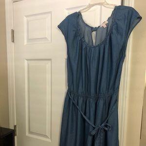Plus Size Pleated Denim Summer Dress